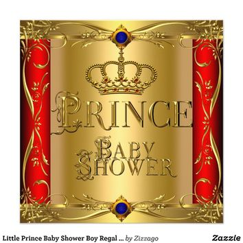 Little Prince Baby Shower Boy Regal Blue Red Crown Personalized Announcement from Zazzle.com