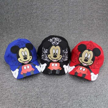 Trendy Winter Jacket New lovely Cartoon boys girls hats Children Baseball Cap Summer M LOGO Cap Kids Snapback Caps Mickey Minnie Cosplay Hat AT_92_12