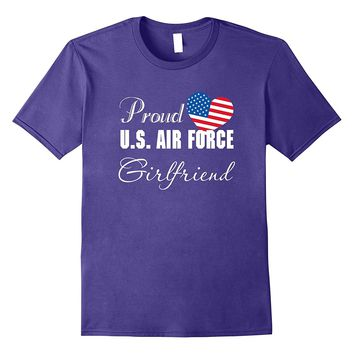 Military Proud US Air Force Girlfriend Flag Heart T-shirts