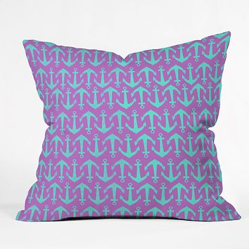 Allyson Johnson Purple Anchors Throw Pillow