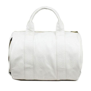 White Studded Leather Satchel Bag