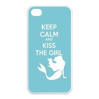 The Little Mermaid KEEP CALM AND KISS THE GIRL Unique Apple Iphone 4 4S Durable Hard Plastic Case Cover CustomDIY