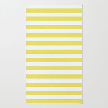 Pale Gold And White Stripes Area & Throw Rug by Shirley Taylor