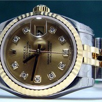 NEW ROLEX-18kt Gold & Stainless Datejust-Champagne Diamond 179173-SANT BLANC