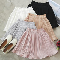 Women'S Puppy Solid Color Pleated Chiffon Skirts