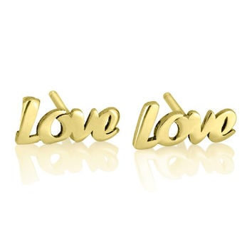 Personalized Gold Love Earrings - Personalized Earrings, Name Earrings, Personalized Gifts, 14k gold plated earrings