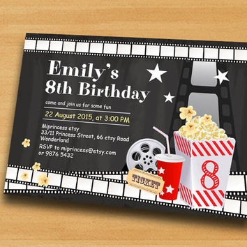 Best movie night birthday invitations products on wanelo movie party invitation movie night birthday invitation chalkbo filmwisefo