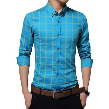 Bolubao Men Long Sleeve Shirt Fashion Quality Cotton Slim Plaid Tuxedo Shirts Business Male Blouse Shirt Camisa Social Masculina