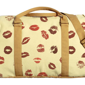 Lips Pattern Printed Oversized Canvas Duffle Luggage Travel Bag WAS_42