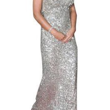Vogue Silver Sequin Bridesmaid Dresses Long Gown Sleeveless