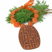 Egyptian Hieroglyph Handmade Necklace Carnelian Chunky Orange Jewelry