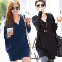 Korea Style Womens Tops Low cut Bat Sleeves Casual Loose Maternity Tops Shirts