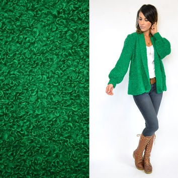 nubby KELLY GREEN baggy bouclé oversized grandpa CARDIGAN duster sweater, extra small-medium