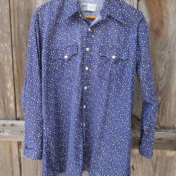 70s Midwinter Night Western Shirt by BR Westerns, Men's M-L // Vintage Navy Dot Print Cowboy Shirt // Country Western Shirt
