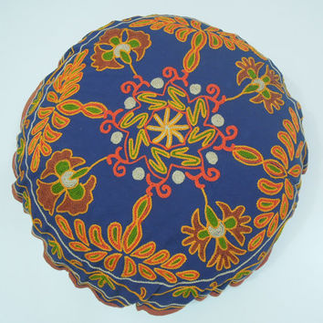 Embroidered Indian Round Pillow - Suzani Bright Colored Cushion Cover 22x22 - New Home Gift