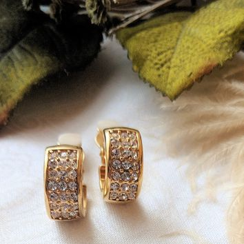 Wide Gold Cubic Zirconia Pave Clip-on Huggie Hoops
