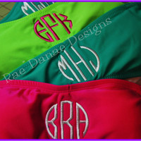 Monogrammed Bandeau Swimsuit Juniors Bathing Suit Top Only  Lime Green...Pink...Teal
