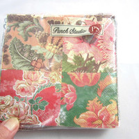 Punch Studio Beverage Napkins Pink and Green Roses and Ferns Sealed Package of 20 , 3 Ply Paper Floral Napkins Decoupage Made in Germany
