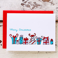 Merry Christmas Row of Wrapped Gifts Greeting Card.  Set of 12 Cards in a Box. Turquoise, Red, Blue, Gray Holiday Card.