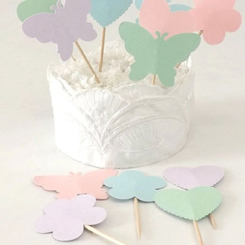 Pastel Cupcake Toppers, Hearts Butterflies & Flowers, Spring Wedding or Birthday Food Picks