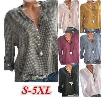 7 Colors Plus Size S-5XL Women's Fashion Casual Loose V-neck Long Sleeve Polka Dot Blouse Tops Loose Fitting Sexy T-shirt