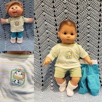 """to fit 15 inch Bitty Baby® Cabbage Patch®  BOY doll Clothes """"Lil' Zebra"""" 15 inch playset top shorts sock pants L12"""