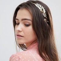 ASOS DESIGN Floral Leaf Side Headband at asos.com