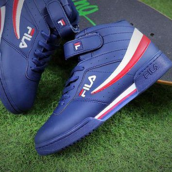 DCCKU62 Sale Fila F-13V Retro Mid Dark Blue Men Sneaker