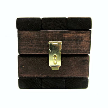 Miniature Cube Storage Box with Lid - Tiny Rustic Wooden Trinket Box with Latch - Jewelry Gift Box