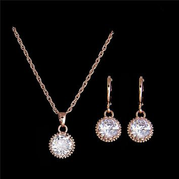 H:HYDE New Gold Color Round Cubic Zirconia Stylish Necklace Earrings Fashion Wedding Jewelry Sets