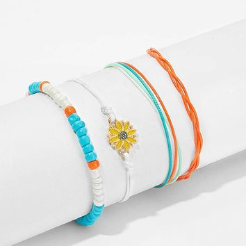 Flower & Layered Strings Anklet 4pcs