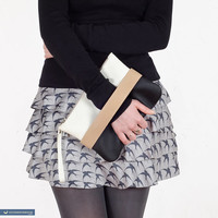 "Clutch bag ""CarryMe"", black and white vegan purse"