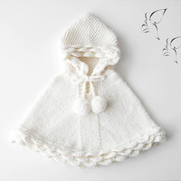 White Baby Poncho / Hand Knit Hooded Cape / Little Girl Alpaca Sweater / Made To Order