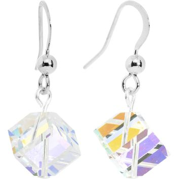 Aurora Borealis Crystal Cube Dangle Earrings