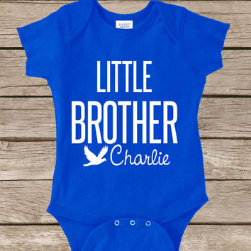 Little Brother Onesuit - Personalized Little Brother Shirt - Cute Onsies - Little Brother Big Big Brother - Baby Shower Gift - 1st Birthday