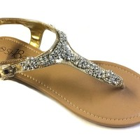 Womens T Strap Gladiator Sandals Flats shoes W/Iridescent Rhinestones (8, Gold Rich-14)