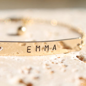 Nameplate Bracelet,Personalized Bracelet,Gold filled, Modern and Simple,Everyday,Gift,Rolo Chain,Simple WITH EXTENDER CHAIN