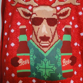 Ugly Christmas Sweater Sweatshirt Mens Unisex Cheeky Sweatshirt Deer holding beer