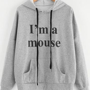 Grey Monogram I'm A Mouse Cute Ears Pockets Long Sleeve Hooded Pullover Sweatshirt