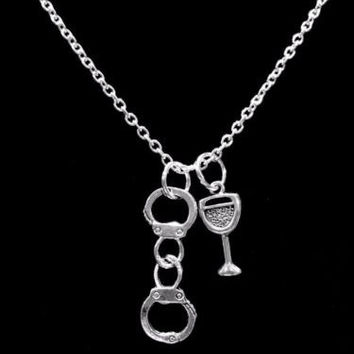 Handcuff Wine Glass Partners In Crime Gift For Sisters Best Friend Necklace