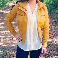Mustard Yellow Faux Leather Bomber Jacket