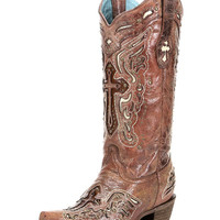 Women's Cognac/Bone Inlay Cross & Studs Boot - C2853