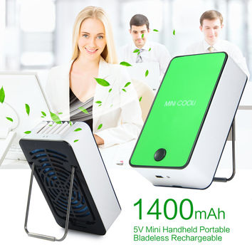 1400mAh 5V Mini Handheld Portable Bladeless Rechargeable Air Conditioner Cooling Fan with Stand and Mini USB Charging Cable