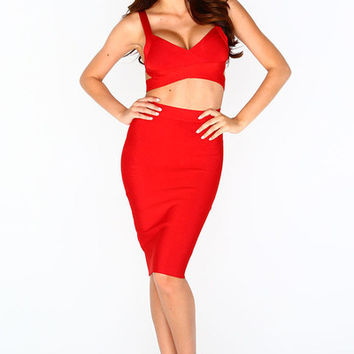 "The ""Cleopatra"" Bandage Two Piece - Red 