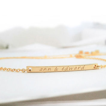 Dainty Personalized Bar Bracelet / Golg Initial Bracelet / Customized Jewelry / Minimalistic Jewelry / Gold Bar Bracelet / B432