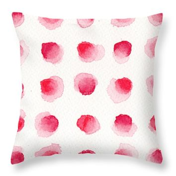 "Red Dots Throw Pillow 14"" x 14"""