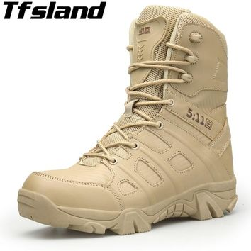 Men Military Leather Boots Winter Autumn Special Forces Tactical Desert Boots Combat Boats Outdoor Hiking Shoes Ankle Snow Boots