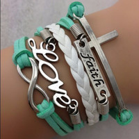 Teal Colored Strands, Faith Love Infinity with Cross