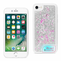 iPhone 8 Plus/ 7 Plus Case With Flowing Glitter And Led Effect In White