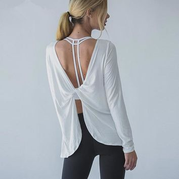 Ayopanda Open Back Yoga Shirts Women Sophie Long Sleeve Gym Sports Tank Top Loose Reverse Drape Activewear Exercise T-shirts